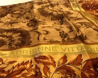 Vintage Square ADRIENNE VITTADINI Scarf Silk Extra Large Flowers Tans and Browns