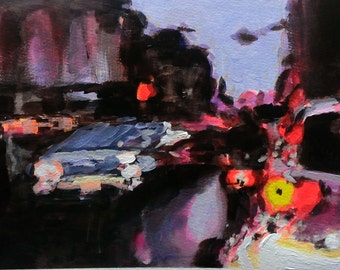 London Streets In Rain 1. Original Acrylic on Paper Painting.