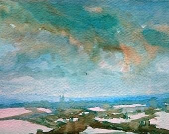 Winter Over Romney Marsh 1; Original Watercolour Painting