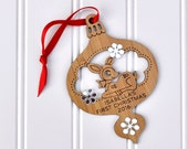 Personalized 2016 Baby's First Christmas Woodland Animal Wood Bamboo Deer Ornament with Name