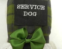 Blue Green Irish Plaid Business SERVICE DOG Bow & Lace Harness. Perfect Item for your Cat, Dog or Ferret. Custom Made For Your Pet.