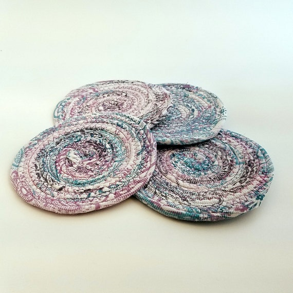 Coiled Rag Rug Instructions: Fabric Coasters Set Of 4 Braided Rug Style Coiled Rope