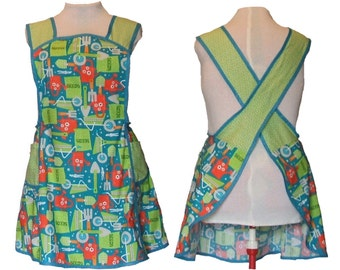 Plus Size Apron, Cross back Apron - Gardening in Turquoise, Lime and Orange - Ready to Mail - size 2X