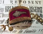 Antique cuff religious vestment bullion metallic embroidered cross velvet book chain esprit bird saint bracelet one of a kind jewelry