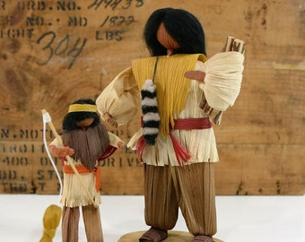 Vintage Cornhusk Dolls, Native American Indians, Handmade, Father and Son