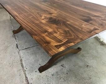 Walnut Wishbone Trestle Dining Table