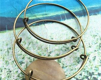 10pcs 64mm adjustable slider antiqued bronze bangle wire bracelets
