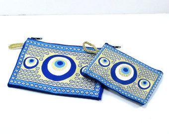 Evil eye wallet, Authentic pouch, coin pouch, woven fabric wallet, Turkish purse, Turkish evil eye, zipper coin purse, Turkish wallet