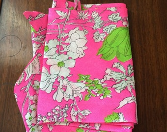 Vintage 60s Neon Pink Floral Scarf Wrap