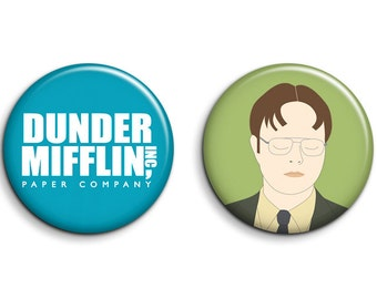 The Office - Set of 2 The Office Badges - Dwight Schrute Dunder Mifflin
