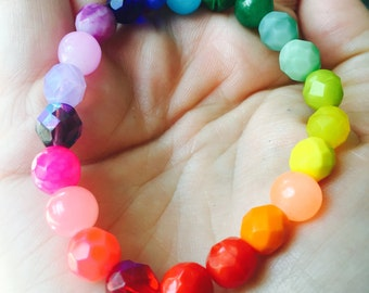 Rainbow Colorful Beaded Bracelets Supporting  ACLU - American Civil Liberties Union. 5 Dollar Donation included with purchase.