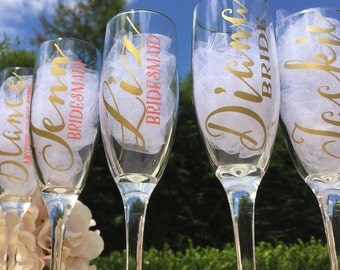 Set of 4, Personalized bridesmaid champagne glasses, bridesmaid glasses, bridesmaid proposal, bridesmaid gifts
