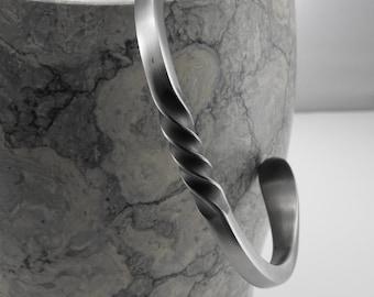 "Spiral Cuff Bracelet in 3/16"" Matte Finish Stainless Steel, Artisan Jewelry"