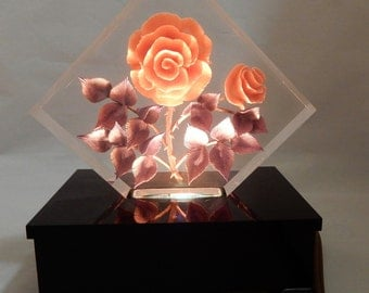Reverse Carved Lucite Vanity or Night Light w/ Pink Roses