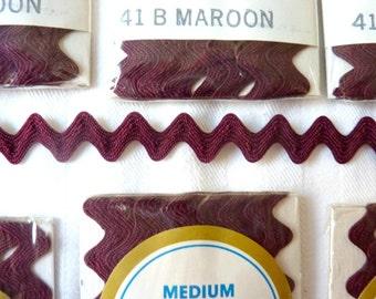 Rick Rack Trim Maroon, Burgandy 14 Original Packages Over 36 Yards 1980's Vintage
