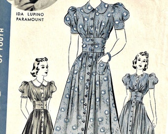 1930's Hollywood Pattern 1619 Ida Lupino Dress One Piece Frock Bust 32