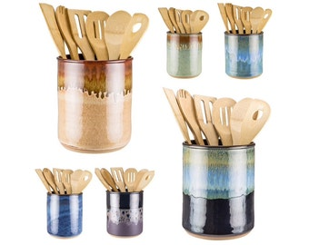 Etonnant Utensil Jar In Your Choice Of 16 Glazes! Wheel Thrown Pottery Utensil Crock  / Spoon
