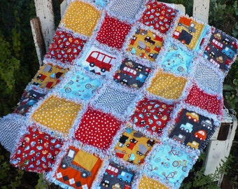Fun Baby Boy Rag Crib Quilt -Cars Trucks Fire Engines Bicycles in Red Yellow Aqua and Gray Ready to Ship