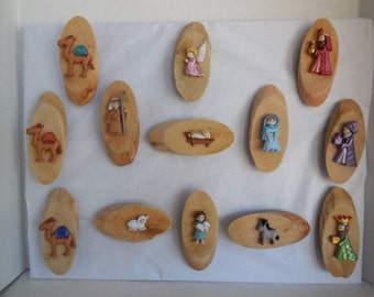 13 Piece Driftwood Nativity Refrigerator Magnet, Nativity Magnet, Nativity Refrigerator Magnet, Hand Made Nativity