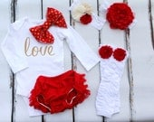 Newborn Baby Girl Coming Home Outfit or Valentine's Day Outfit Set of 4 Items, Lace Diaper Cover, Leg Warmers Bow Bodysuit Pink Roses Gold.