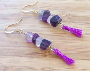 Feel Free Flurite Energy and Healing Tassel Earrings