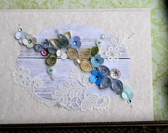 Quilled All Occasion Card Blues and Creams on Paper Lace Background