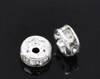 20 pcs Silver Plated Clear Rhinestone Rondelle Spacer Beads - 4mm