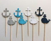 24 Anchor and Whale cupcake topper Nautical baby shower Whale  and Anchor Cupcake Toppers Baby Shower - Navy baby shower cupcake topper