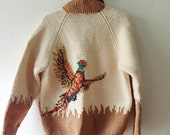 Vintage, Cowichan, Pheasant, Handknit, Unisex, Chunky Knit, Fall, Zip Front, Sweater, Fall Jacket, Size Medium