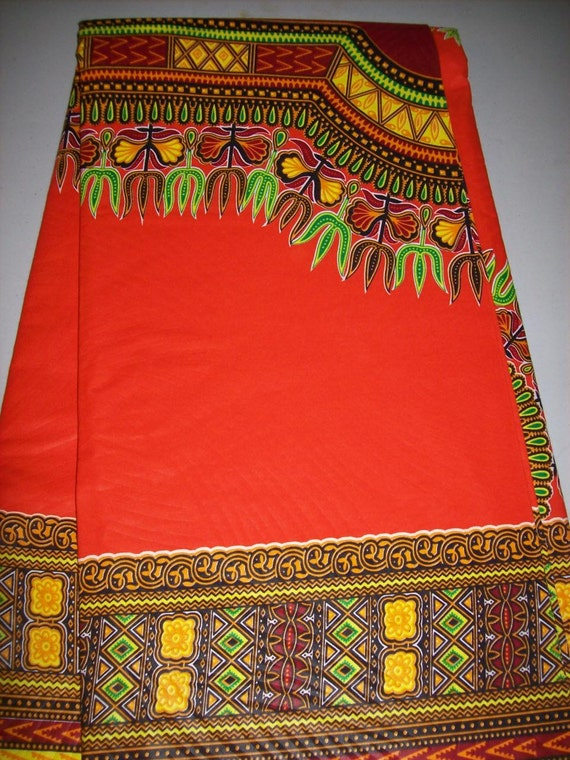 Orange Color Dashiki Print Fabric Wholesale 6 Yards Dashiki