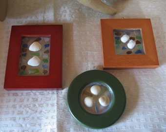 Set of Three Shell and Tumbled Glass Resin Frames