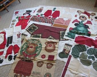 Christmas-themed Daisy Kingdom (5), Cranston (1), Leslie Beck (1) sewing panels, uncut