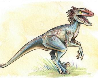Velociraptor Dinosaur Watercolor Print
