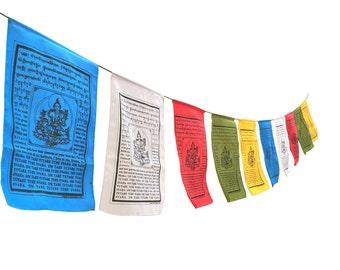 Large Handmade Tibetan Green Tara Prayer flags Tibetan with English Translation (6X12)