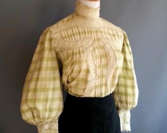 1800-1900 XL plaid blouse, gibson girl, pigeon breasted, edwardian blouse, antique shirtwaist plaid waist, victorian shirt, victorian blouse