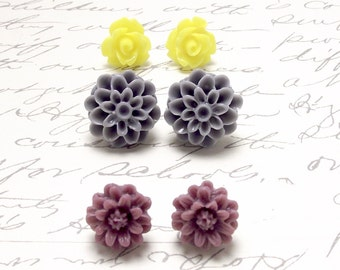 Flower Stud Earrings Set. Plum Gray Yellow Floral Post Studs. Chrysanthemum Dahlia Rose Flower Earrings.