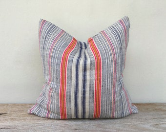 "Stripe Pillow Case Nature Hemp Hand Woven  A Piece Of Vintage Tribal Textile 20"" x 20"" Reverse made of same fabric"