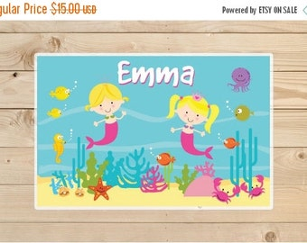 ON SALE Kids-Personalized-Placemat--Mermaid-Kids-Placemats.-A-personalised-children's-gift-idea-Placemat-for-Girls