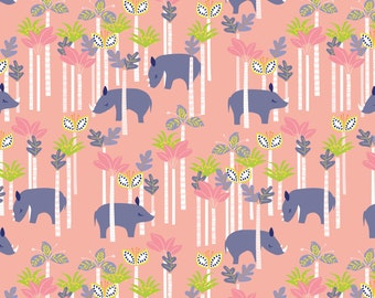 Sundaland Jungle - Rhinos in Pink by Katy Tanis for Blend Fabrics