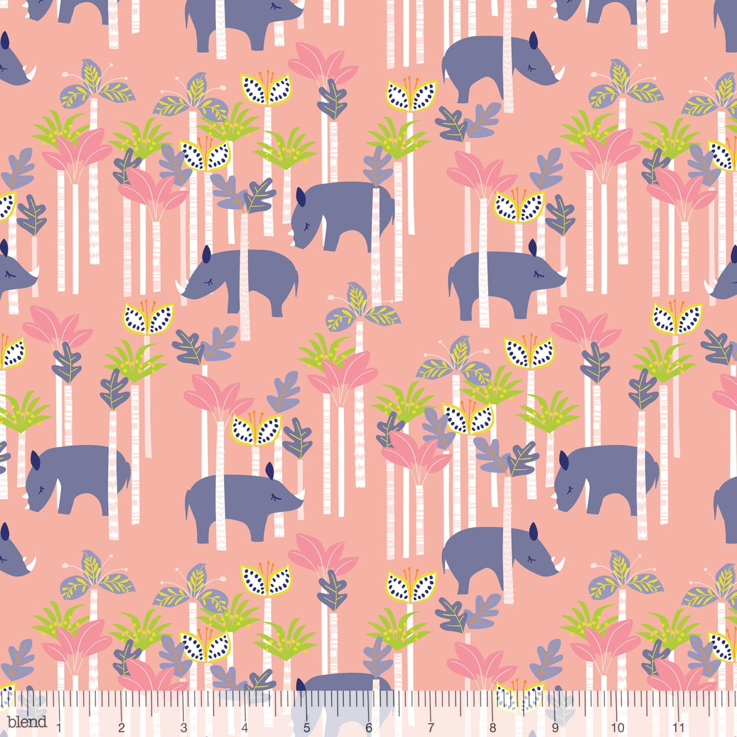 sundaland jungle rhinos in pink by katy tanis for blend fabrics from lilyrosequilts on etsy studio. Black Bedroom Furniture Sets. Home Design Ideas