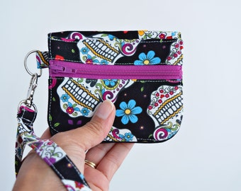 Sugar Skull Wallet for Women, Keychain Wallet ID, Mini Wallet, ID Card Holder, Credit Card Holder, Handmade, Zookaboo