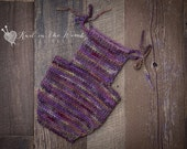 Handspun Newborn Romper - READY TO SHIP - knit baby photo prop