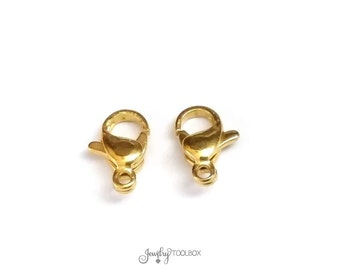 Gold Stainless Lobster Clasps, 10mm, Gold Color Stainless Steel Jewelry Making Supplies, Lot ...