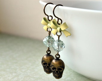 Dangle Earrings - Skull Earrings - Hypoallergenic - Skull Jewellery - Niobium Jewellery - Pastel Goth