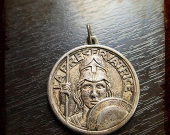 Vintage Large French Silver Athena Warrior Medal - Jewelry pendant from France