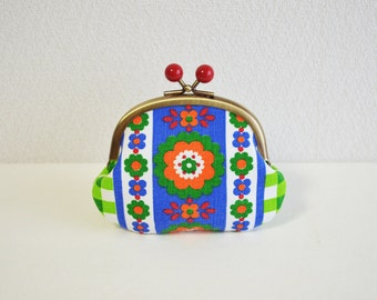 Vintage scandi floral coin purse with red acrylic balls - blue, orange, green. German, folk, gingam checked print.