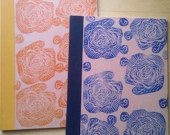A5 Notebook Linoprint Lined Journal //Blue Rose Pattern//Recycled Vegan  Linocut