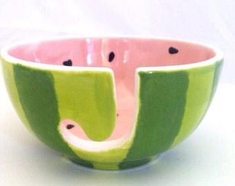 Watermelon Yarn Bowl - Ceramic Pottery Knitting Holder