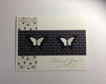 Thank You - handmade stamped card, butterfly, black & white