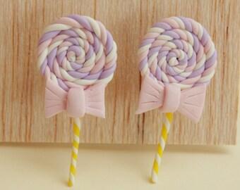 lollipop stud post earrings white, pastel pink & violet